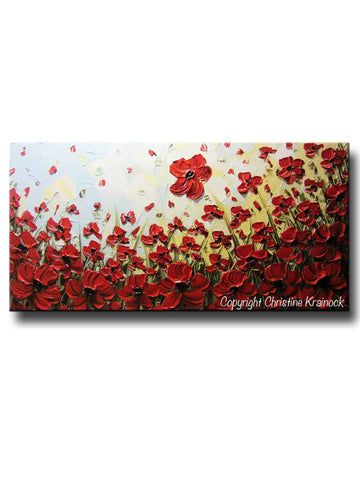 ORIGINAL Art Abstract Painting Red Flowers Poppies Large Canvas Wall Art Textured Landscape Poppy - Christine Krainock Art - Contemporary Art by Christine - 1