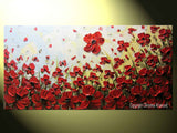 ORIGINAL Art Abstract Painting Red Flowers Poppies Large Canvas Wall Art Textured Landscape Poppy - Christine Krainock Art - Contemporary Art by Christine - 6