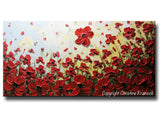 ORIGINAL Art Abstract Painting Red Flowers Poppies Large Canvas Wall Art Textured Landscape Poppy - Christine Krainock Art - Contemporary Art by Christine - 3