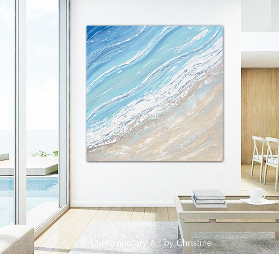 """Ocean Tide"" ORIGINAL Art Coastal Abstract Painting Aerial Ocean Coastline Beach Home Decor XL 40x40"""""