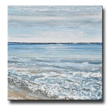 ORIGINAL Art Abstract Painting Textured Seascape Blue White Taupe Beach Coastal Home Decor Wall Art 36x36""