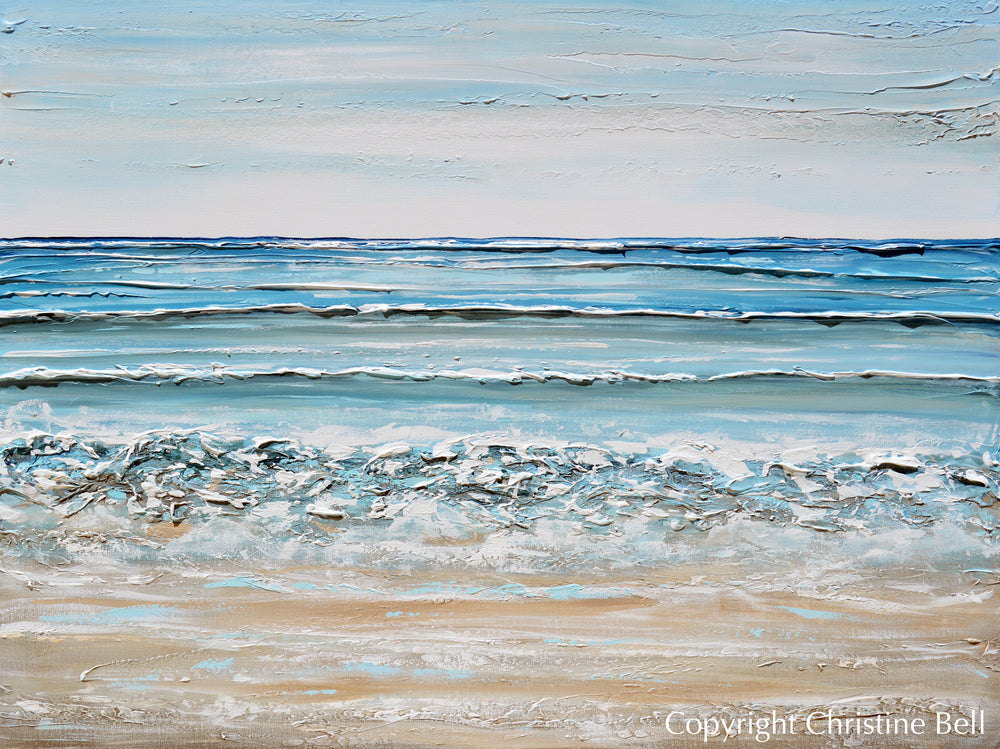 """At the Shore"" ORIGINAL Art Coastal Abstract Painting Textured Ocean Waves Blue Beach 48x36"""