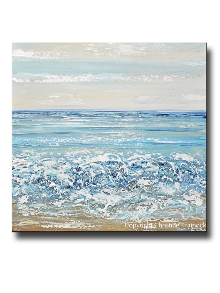 ORIGINAL Art Abstract Painting Textured Coastal Seascape Blue White Beach Home Decor Wall Art 36x36""