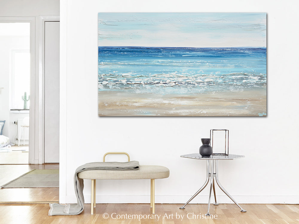 """Sapphire Sea"" ORIGINAL Art Coastal Abstract Painting Textured Ocean Blue White Beach Decor 48x30"""