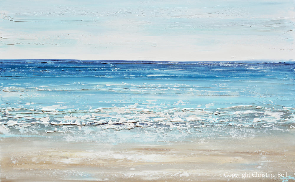 """Sapphire Sea"" GICLEE PRINT Art Coastal Abstract Painting Ocean Blue White Canvas Beach Decor"