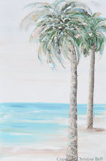 "CUSTOM FOR MICHELLE ""Tropical Breeze"" ORIGINAL Art Coastal Abstract Painting Textured Palm Trees Beach Home Decor 30x40"""
