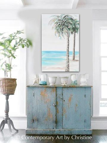"""Tropical Breeze"" ORIGINAL Art Coastal Abstract Painting Textured Palm Trees Beach Home Decor 24x36"""