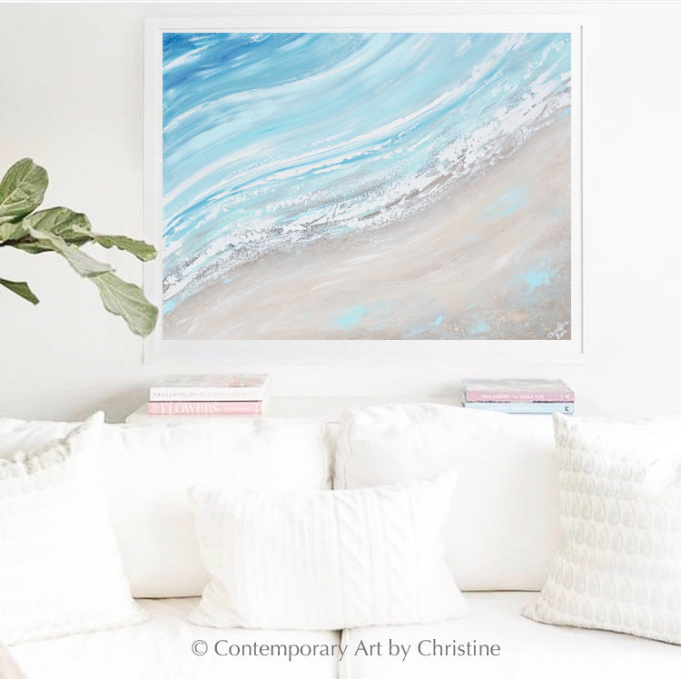 """Coastline"" ORIGINAL Art Coastal Abstract Painting Ocean Surf Textured Beach Decor 40x30"""