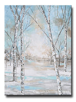 ORIGINAL Art Abstract Painting Birch Trees Snow Landscape Textured Blue Green White Wall Art Home Decor 30x40""