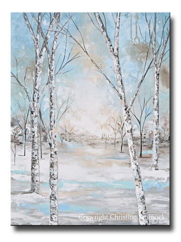Canvas Print Art Abstract Painting Birch Trees Landscape Blue White