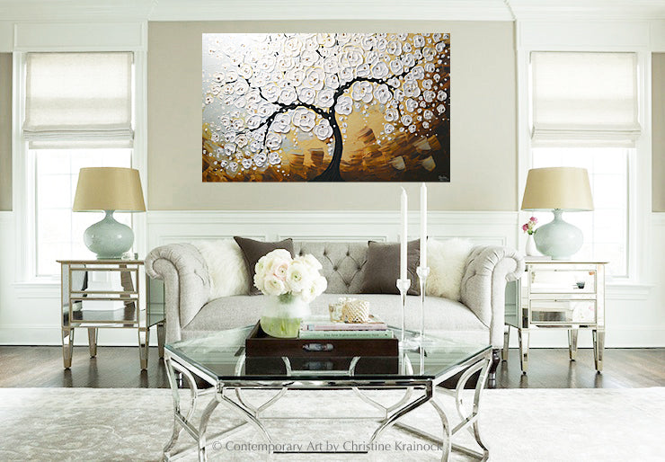 ORIGINAL Art Abstract Painting Blossoming Cherry Tree Textured White Flowers Wall Art XL 36x60""