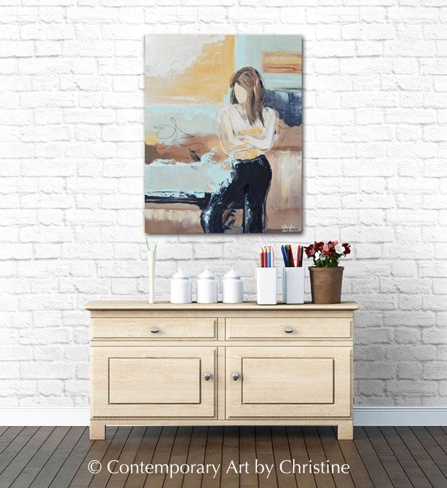ORIGINAL Art Abstract Painting Figurative Female Strong Woman Empowerment Modern Wall Art Home Decor 24x30""