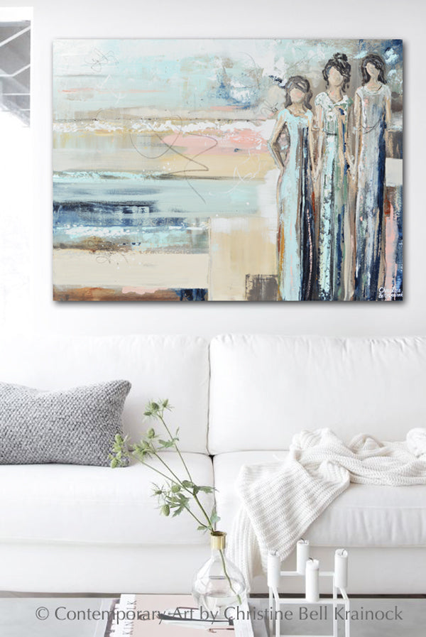 ORIGINAL Art Abstract Painting Figurative Girls Strong Women Empowerment Sisterhood Wall Art Home Decor 40x30""