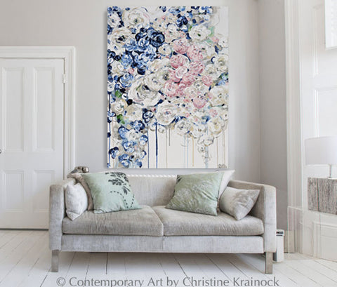 ORIGINAL Art Abstract Painting Floral Navy Blue White Pink Flowers ...