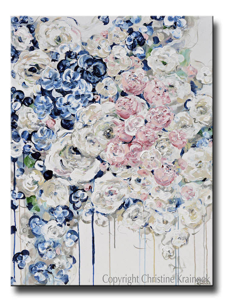 ORIGINAL Art Abstract Painting Modern Floral Navy Blue White Pink Flowers Fine Art Wall Decor 30x40""