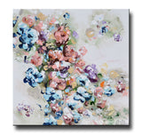 ORIGINAL Art Abstract Floral Painting Colorful Navy Blue White Pink Flowers Sweetpea Wall Decor 24x24""