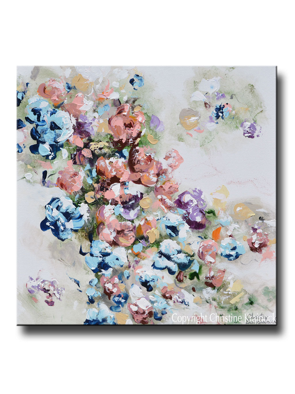 Original art abstract floral painting colorful flowers blue pink original art abstract floral painting colorful navy blue white pink flowers sweetpea wall decor 24x24 mightylinksfo