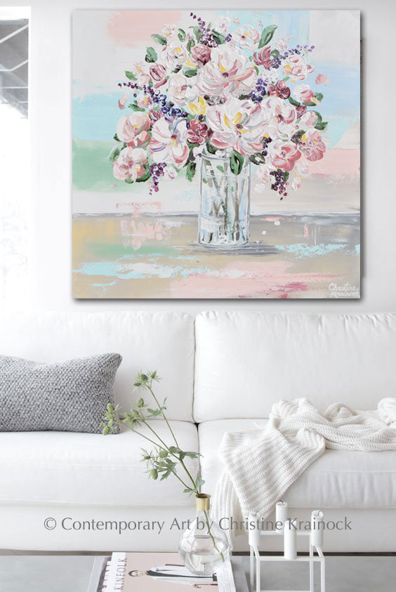 ORIGINAL Art Abstract Floral Painting Textured White Pink Flowers Bouquet Wall Decor 24x24""