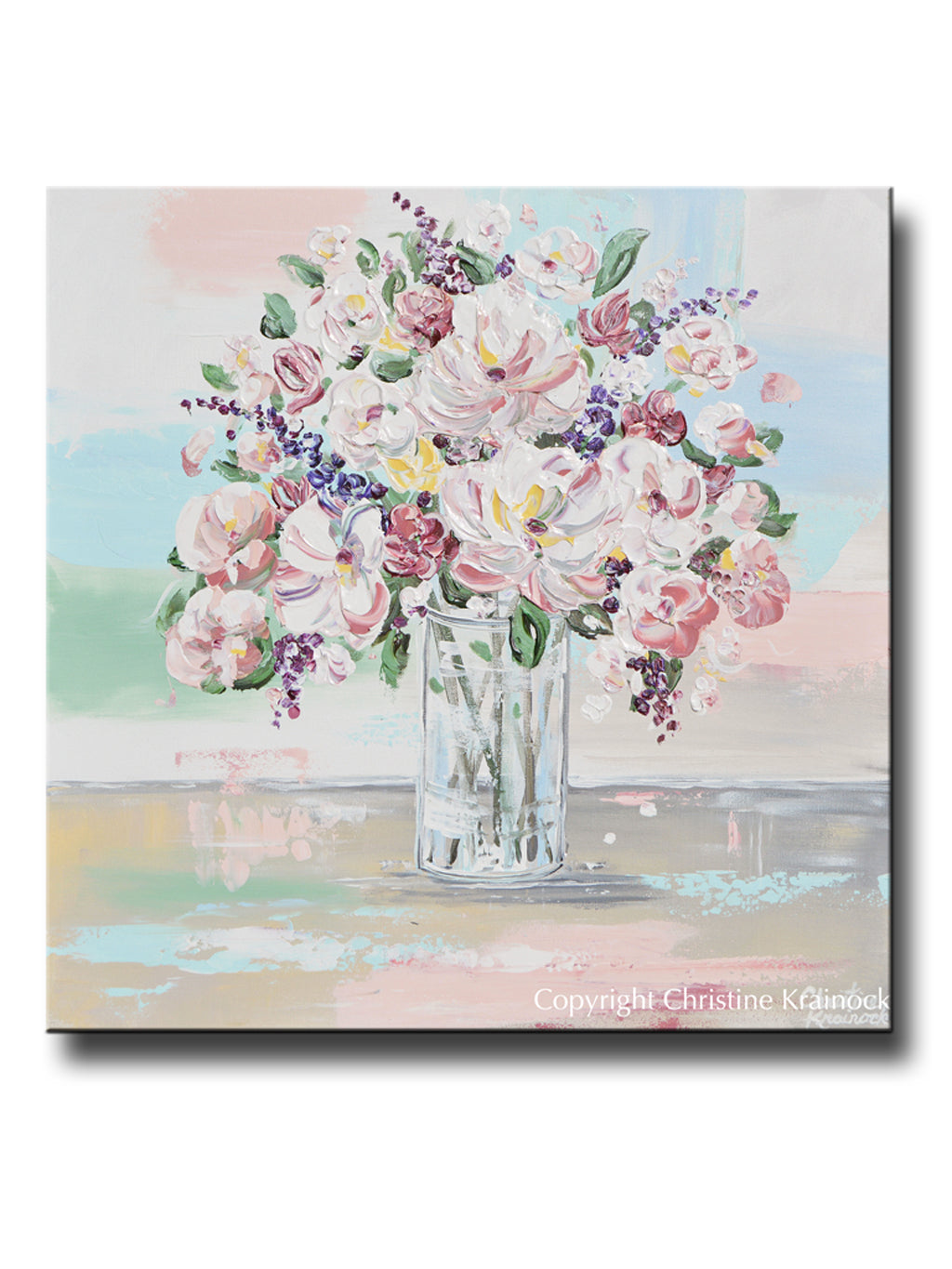 Original Art Abstract Floral Painting Textured Pink Flowers Bouquet