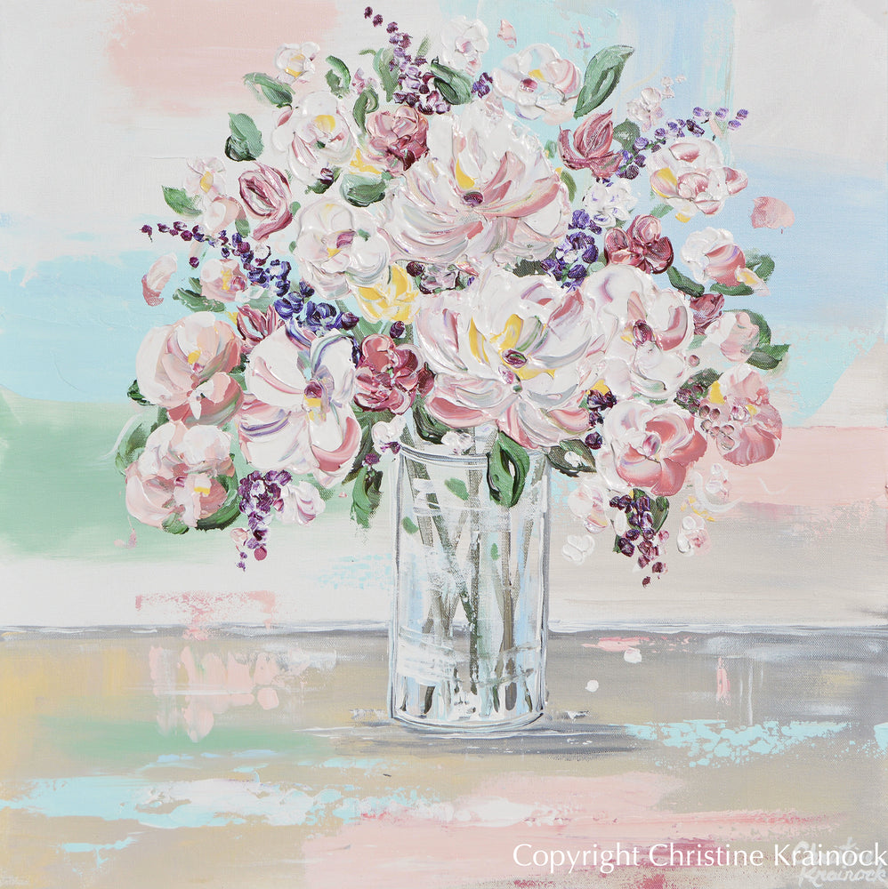 GICLEE PRINT Art Abstract Floral Painting Blue White Pink Flowers Bouquet Canvas Wall Decor