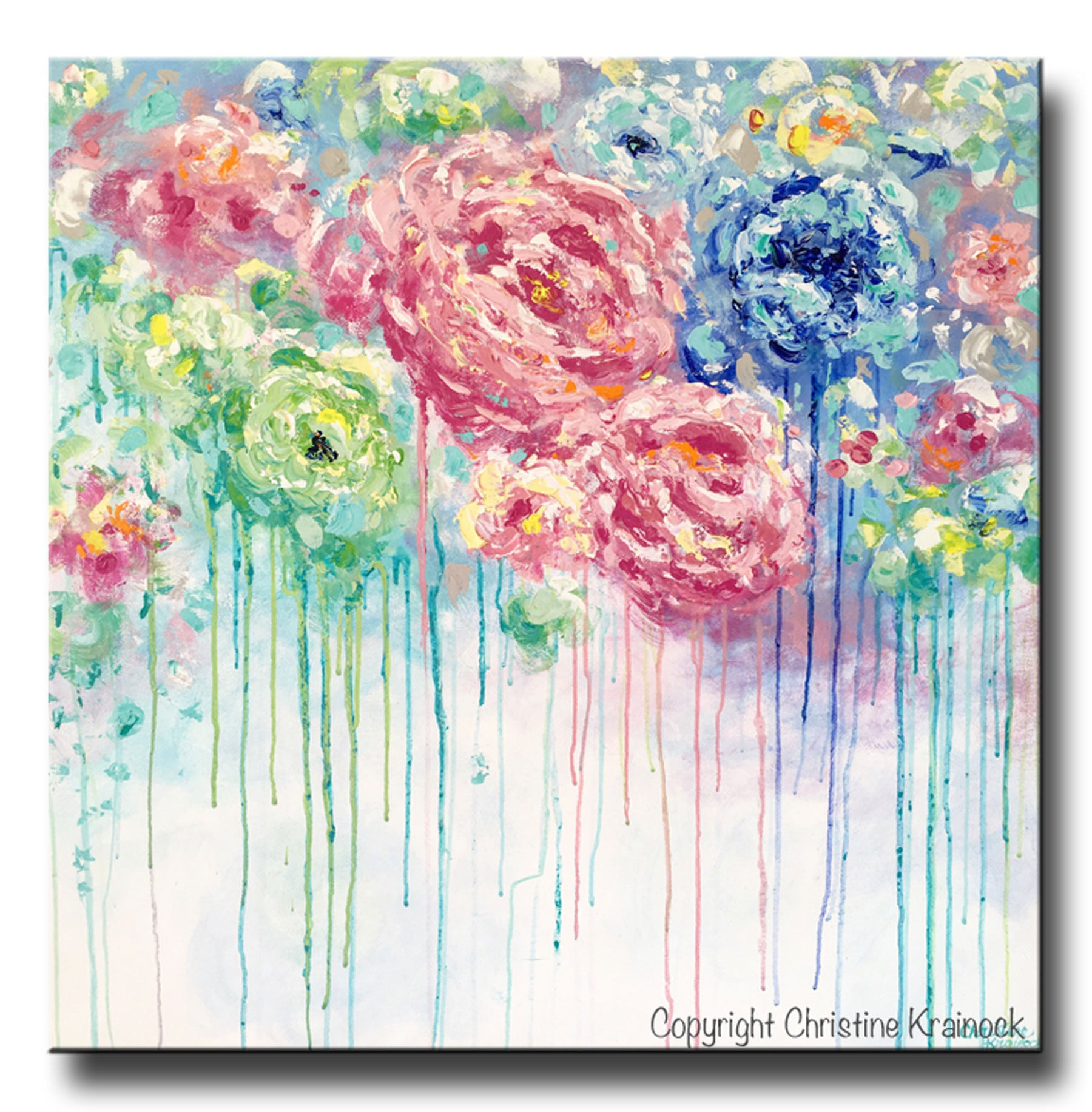 Original Art Abstract Flower Painting Large Canvas Blue