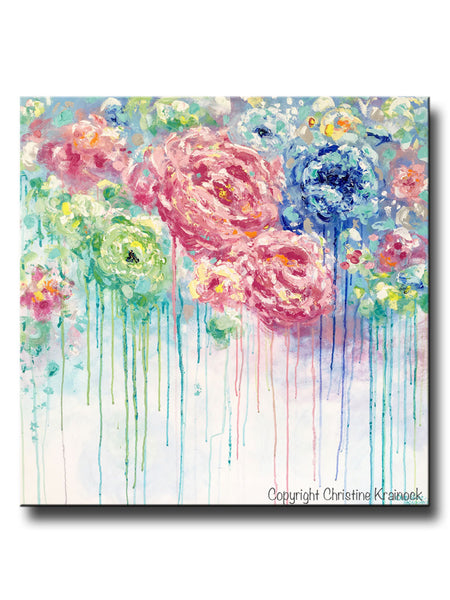 Original art abstract flower painting large canvas blue for Large colorful wall art