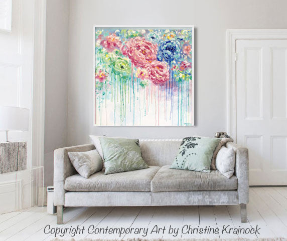 original art abstract flower painting large canvas blue colorful