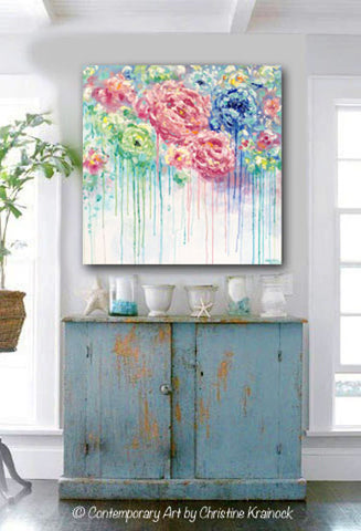 Good ORIGINAL Art Abstract Painting Flowers Blue White Pink Floral Textured XL Wall  Art Colorful Peonies