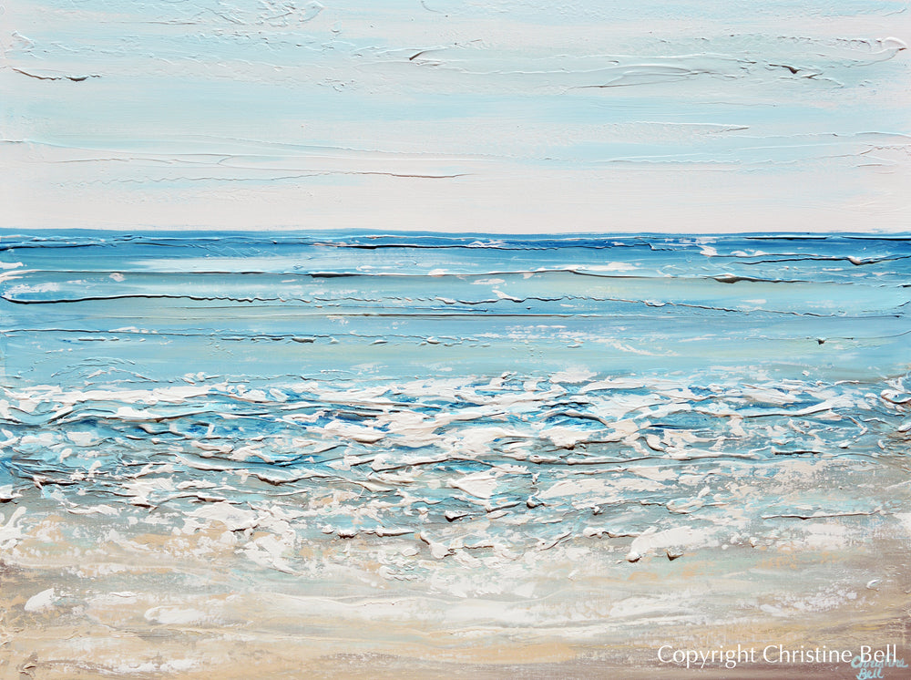 """Turquoise Shores"" ORIGINAL Art Coastal Abstract Painting Textured Ocean Aqua Blue White Beach Decor 40x30"""
