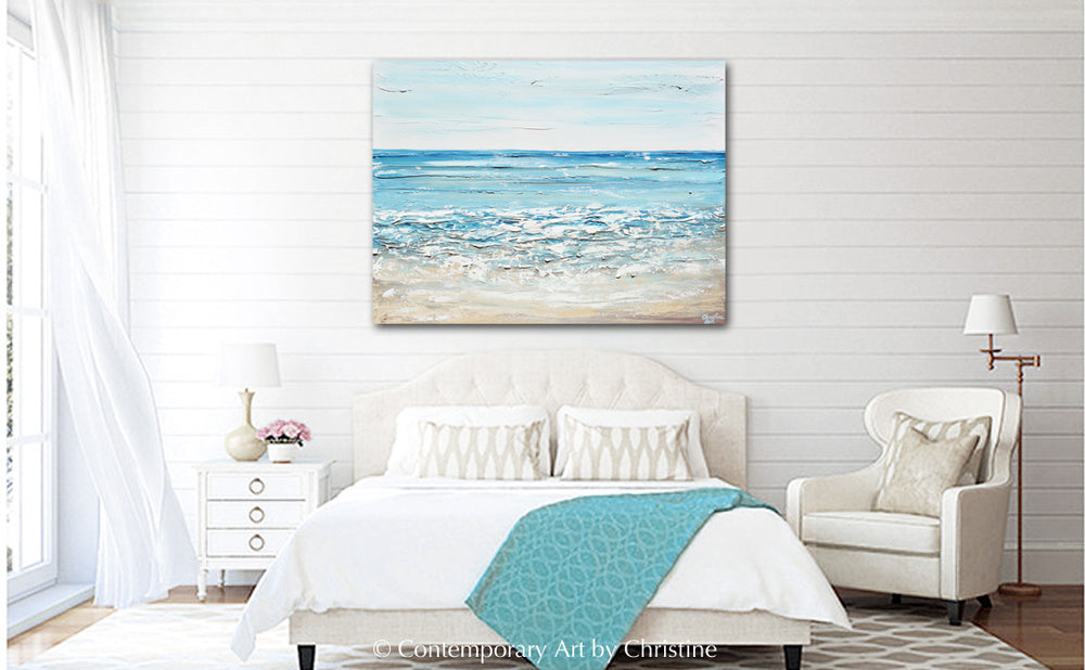 CUSTOM Art Abstract Painting Coastal Seascape Textured Blue White Ocean Beach Wall Decor