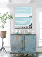 """Del Mar"" ORIGINAL Art Coastal Abstract Painting Ocean Coastline Blue White Beach Decor 24x30"""