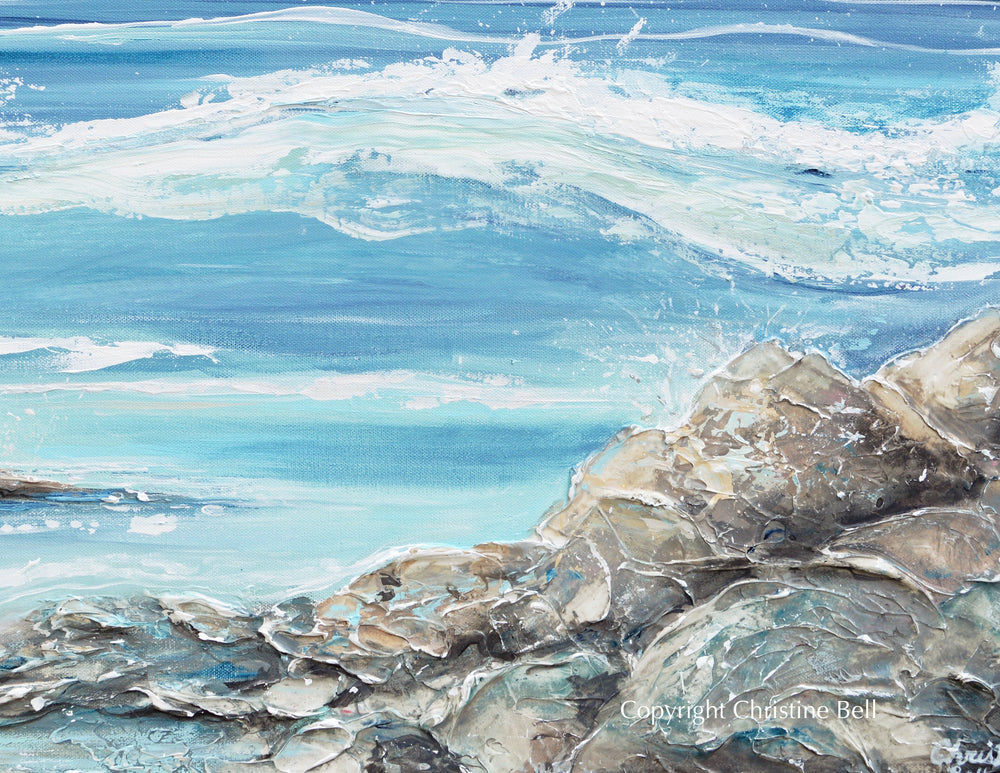 """La Jolla Waves"" ORIGINAL Art Coastal Abstract Painting Textured Ocean Coastline Rocks Beach 24x24"""