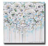ORIGINAL Art Abstract Painting Modern Floral Light Blue White Creme Flowers Rose Peonies Modern Wall Decor XL 40x40""