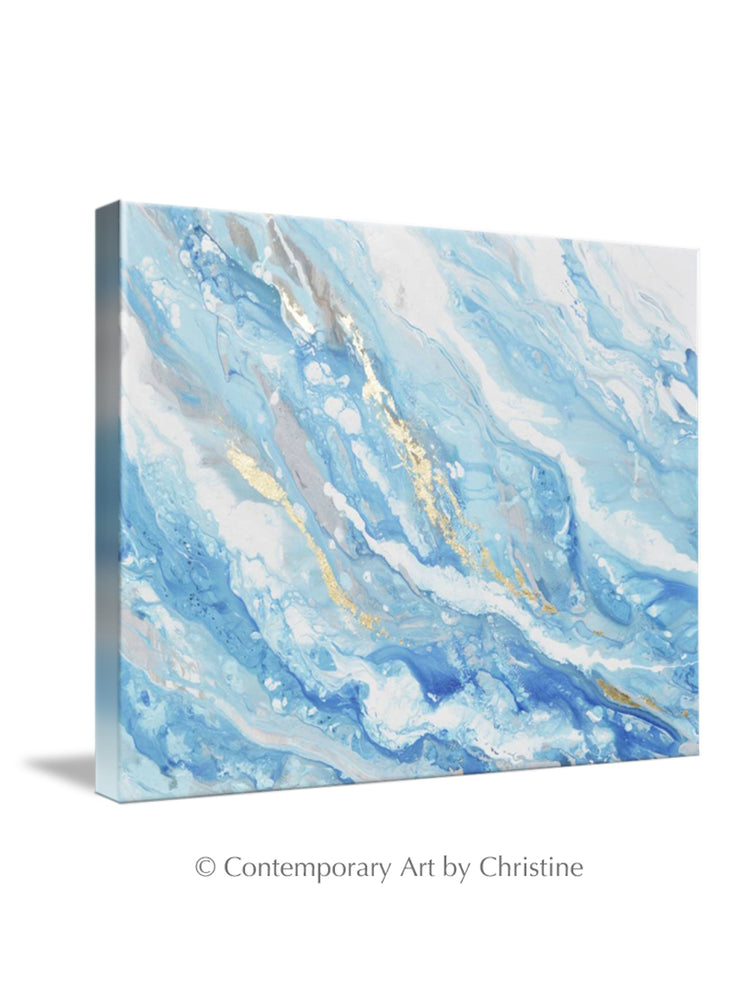 GICLEE PRINT Art Abstract Painting Blue White Coastal Seascape Gold Leaf Canvas Wall Art
