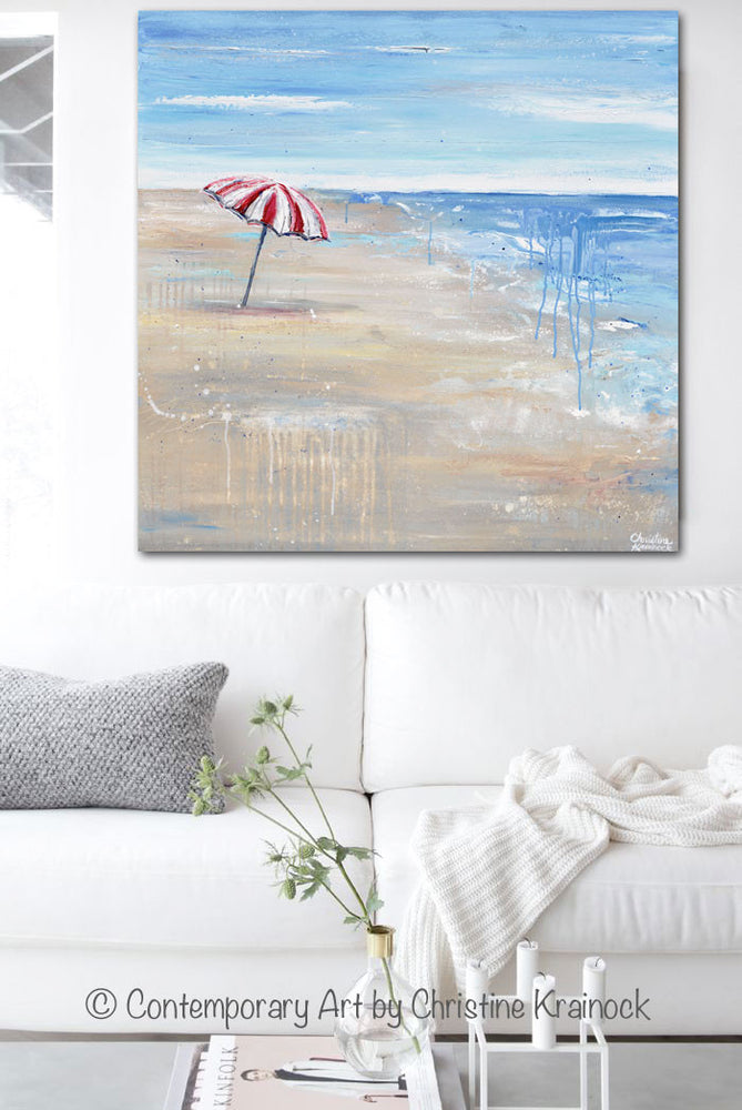 ORIGINAL Art Abstract Painting Seascape Red Beach Umbrella Ocean Blue Coastal Wall Decor 36x36""
