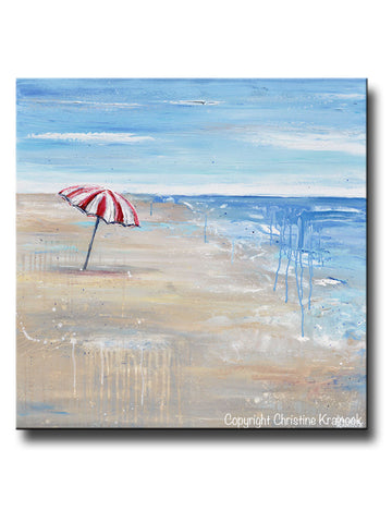 ORIGINAL Art Abstract Painting Seascape Red White Beach Umbrella Ocean Blue Beige Sand Coastal Wall Art Decor 36x36""