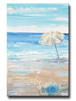 ORIGINAL Art Abstract Painting Beach Umbrella Ocean Blue White Beige Sand Coastal Wall Art Decor 24x36""