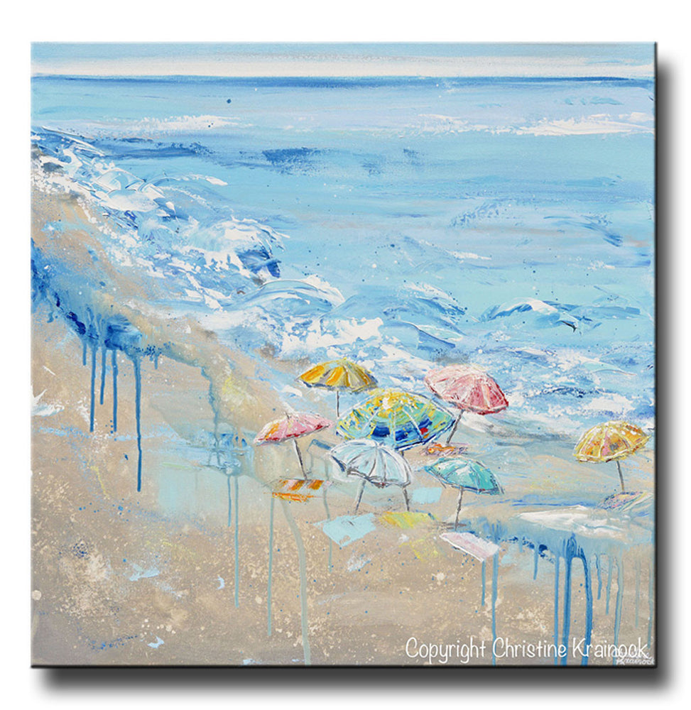 ORIGINAL Art Abstract Painting Beach Umbrellas Colorful Blue White Beige LARGE Ocean Coastal Decor Wall Art 36x36""