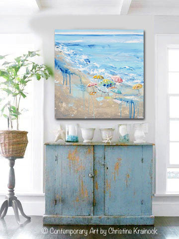 original art abstract painting beach umbrellas blue coastal wall decor contemporary art by. Black Bedroom Furniture Sets. Home Design Ideas