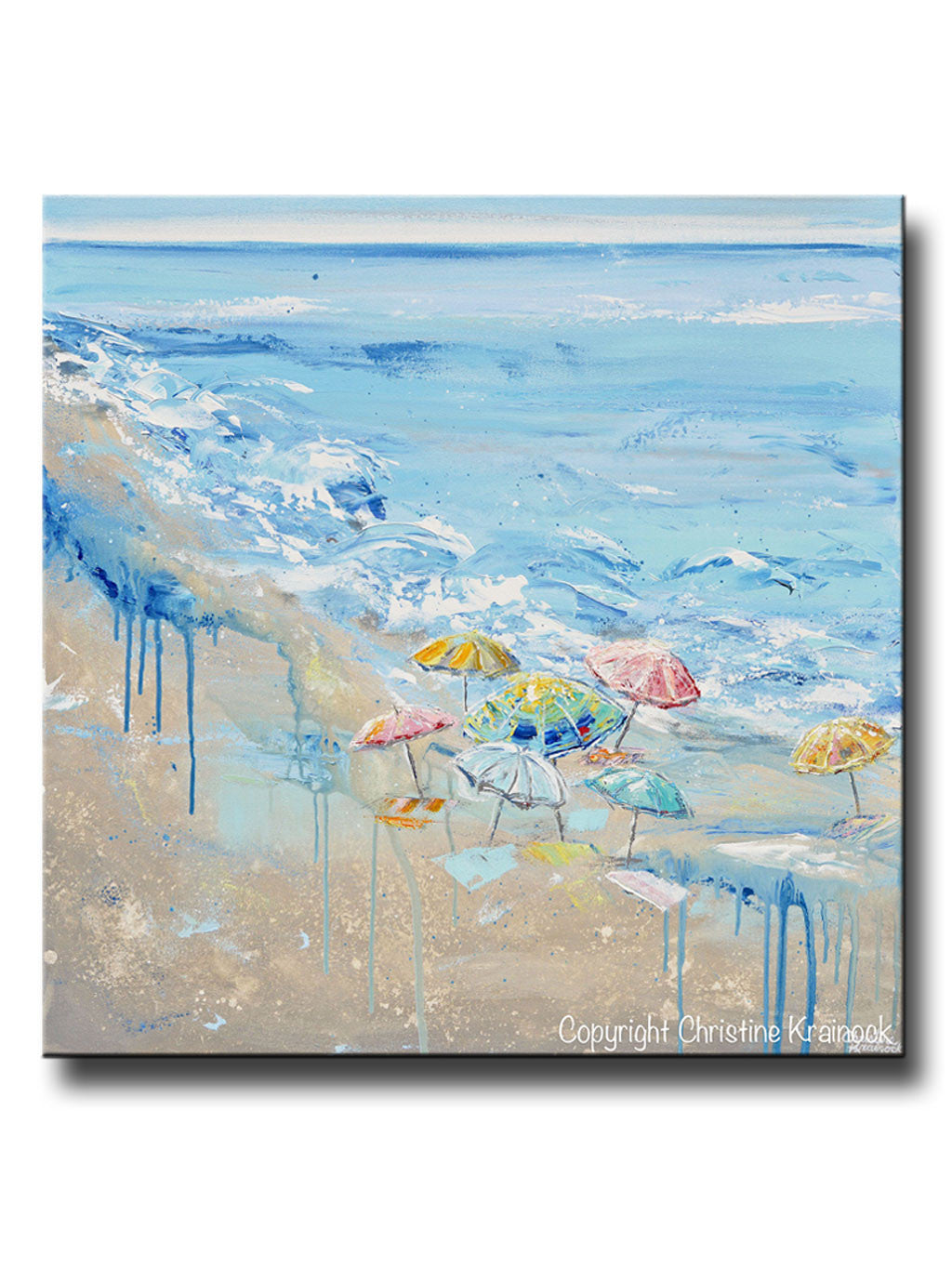 Original art abstract painting beach umbrellas colorful blue white beige large ocean coastal decor wall art
