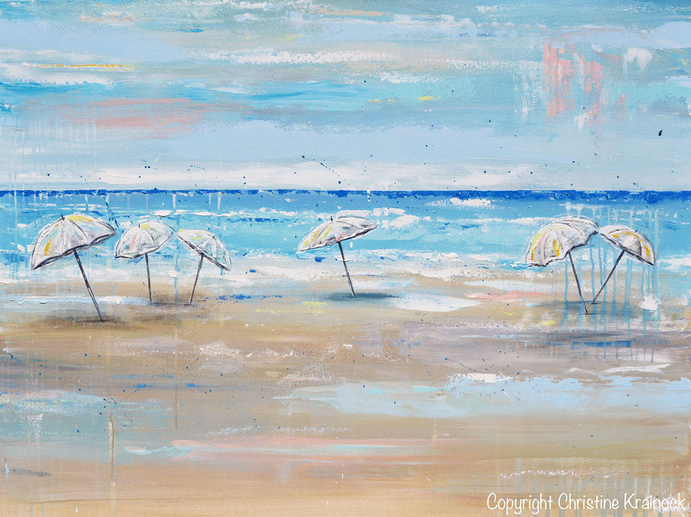 ORIGINAL Art Abstract Painting Beach Umbrellas Blue White Aqua Beige LARGE Canvas Coastal Wall Art Decor 36x48""