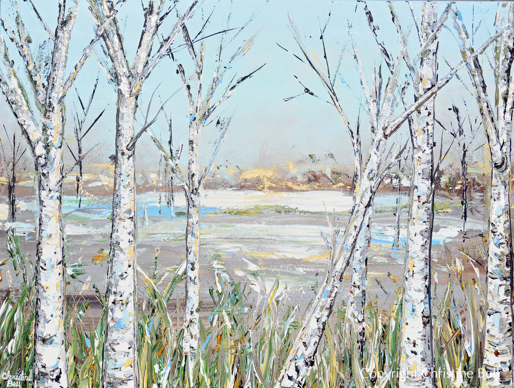 """Just Breathe"" ORIGINAL Art Abstract Landscape Painting Birch Trees Textured 40x30"""