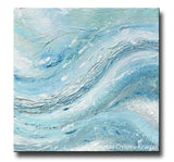 ORIGINAL Art Abstract Painting Blue Green Grey White Textured LARGE Canvas Modern Coastal Wall Art Decor 40x40""