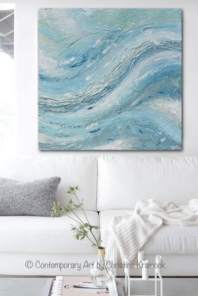 original art abstract painting coastal wall decor blue green textured contemporary art by. Black Bedroom Furniture Sets. Home Design Ideas