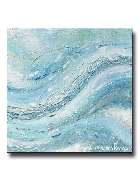 Original Art Abstract Painting Coastal Wall Decor Blue