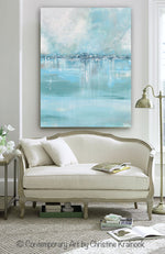 "ORIGINAL Art Abstract Painting Blue Sea Foam Green Grey White Textured LARGE Canvas Coastal Wall Art Decor 36x48"" - Christine Krainock Art - Contemporary Art by Christine - 4"