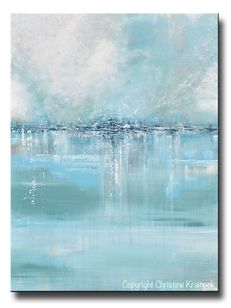 GICLEE PRINT Art Abstract Painting Blue Sea Foam Green Grey White Canvas Coastal Wall Art Decor