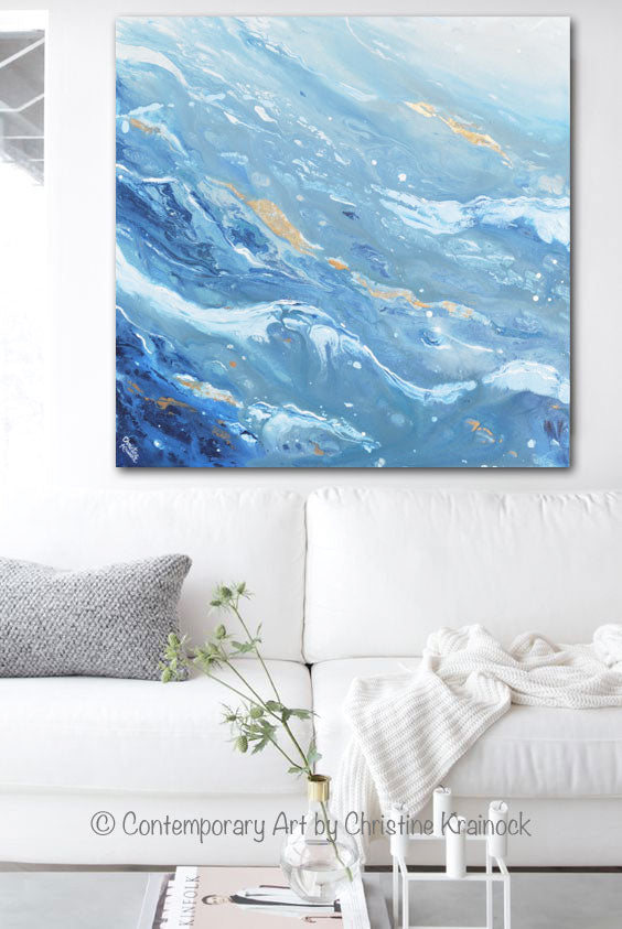 ORIGINAL Art Blue White Navy Abstract Painting Gold Leaf Marbled Coastal Wall Art 36x36""