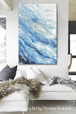 GICLEE PRINT Art Abstract Painting Blue White Coastal Marbled Seascape Large Canvas Prints Wall Art