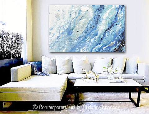 giclee print art abstract painting blue white marbled coastal
